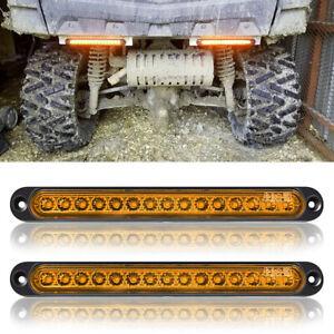 2x Car Truck Trailer UTV LED Light Bar Turn Signal Side Marker Tail Strip Amber