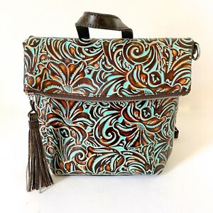 Patricia Nash Luzille Convertible Backpack turquoise tooled