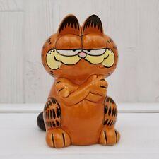 1981 Enesco Garfield the Cat Crossed Arms Ceramic Coin Bank Figurine
