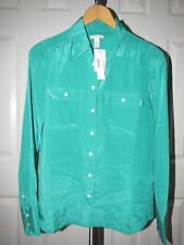 NEW J. Crew Blythe Silk Bouse Top size 2 Emerald Green 37871 NWT
