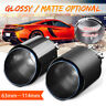 63mm Inlet 114mm Outlet Carbon Fiber Car Exhaust Pipe Tip Muffler End Clamp-on