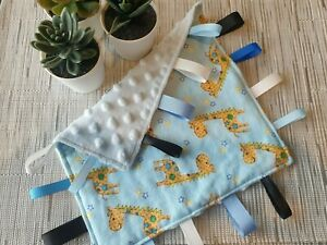 Baby Tag Comforter/Security Blanket/Sensory/Taggie/Gift/Handmade/Cute/Giraffe