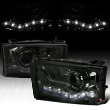 For Ford 1999-2004 F250 F350 Smoke Lens LED DRL Tinted Projector Headlights Pair