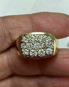 14K Yellow Gold FN 2.00 Ct Mens Round Diamond Engagement Wedding Pinky Ring Band