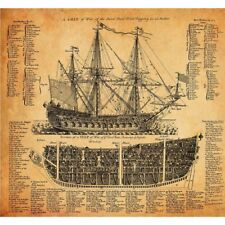 Vintage Poster Print Sailing Ship Battleship Warship Structure Nautical Wall Art