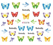 Nail Art 3D Decals Transfers Stickers Multicoloured Butterflies (E578)