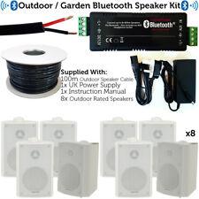 Garden Party/BBQ Outdoor Speaker Kit–Wireless Mini Stereo Amp & 8 White Speakers