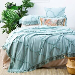Park Avenue Moroccan Cotton Vintage washed Tufted Bed Cover Coverlet set-Mineral