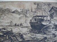 Vintage Etching by Artist Middleton Freeman Nautical Dry Dock Scene Millie Ann