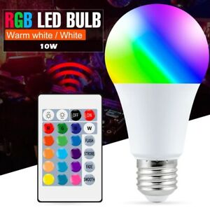Smart Control Lamp RGB Light 10W Colorful Changing Bulb Decor Remote Controller