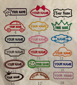 Personalised embroidered iron/sew on name badge/tag