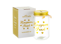 Sass &Belle Honeymoon Fund Glass Jar Money Box Saving Piggy Bank Engagement Gift