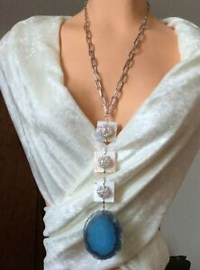 Blue agate slice pendant necklace, statement necklace, chain necklace