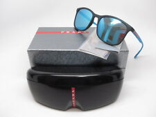 dfbe775883a Prada Sport SPS 01T DG0-5M2 Black Rubber w Light Green Mirror Blue  Sunglasses