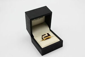 Vintage Signed Designer D'orlan Gold Tone Enamel RING, Boxed