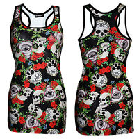 Unique Watcher Gothic Eye Floral Skull Roses Tattoo Print Long Top Alternative