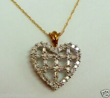 Brand New 14K Two Tone Gold 0.50CT Diamond Heart Pendant Necklace Chain 18''