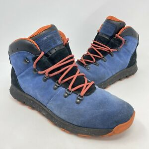 Timberland World Hiker Mid Blue Orange Hiking Boots Mens Size 11.5 Suede Leather