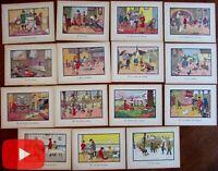 Juvenile Childrens Art Nouveau school prints lot x 15 France c.1915-30