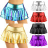 Women Shiny Wet Look Faux Leather Pleated Mini Skirt Skater Flared Shorts Dress