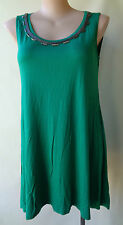 Autograph Size 16 Green Sleeveless Beaded Long Top Post