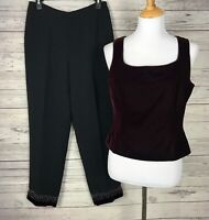 Ann Taylor LOFT Women's 2-Piece Wine Velvet Top / Embellished Black Pants Size 8