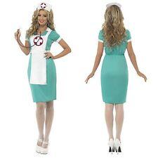 Ladies Classic Green Scrub Nurse Apron Headdress Ww2 Fancy Dress Costume UK 20-22 25870X1