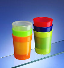 Dishwasher Safe Stackable Neon Coloured Plastic Cups / Tumblers (set of 6)