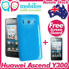 Blue TPU Gel Jelly Case Cover Skin Screen Protector Telstra Huawei Ascend Y300
