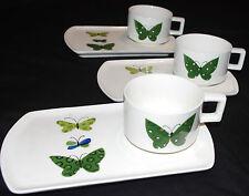 Lot of 3 Holt Howard Mid Century Modern Butterfly Snack Plate Mug Sets Green