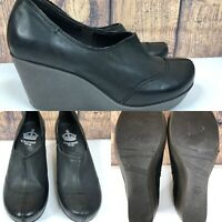 Womens CROWN VINTAGE Black Leather High Wedge Pumps Clogs Shoes SIZE 6.5 M