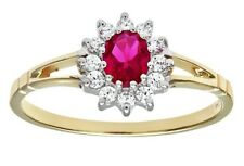 9ct yellow Gold and white gold red ruby and created cluster flower ringsize K
