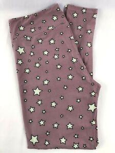 LuLaRoe TC Leggings Tall & Curvy Lavender Purple Cream Stars NEW Fits 12-18