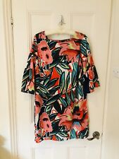 MARKS AND SPENCER BLUE BRIGHT FLORAL SHIFT DRESS UK 14 SQUARE NECK Tunic