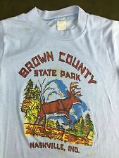 Vintage Mens S 70s 80s Brown County State Park Nashville Deer Graphic T-Shirt