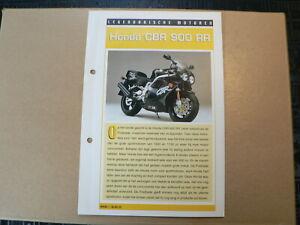 LM22- HONDA CBR 900 RR INFO CARD SHEET MOTORCYCLE,MOTORRAD,MOTORFIETS