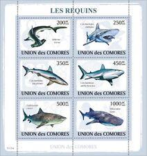 Sharks Marine Life fish fishes Comoros Comores 2009 m/s Mi.2156-61 MNH #CM9116a