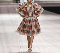 2020 Runway Hot style popular Printed short sleeve elegant makings fashion dress