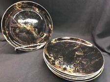 """Vintage Sascha Brastoff Surf Ballet Black & Gold Set of 6 Salad Plates 8 3/8"""""""