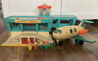Fisher Price Play Family Airport Vintage 70s With Plane + Figures Playset