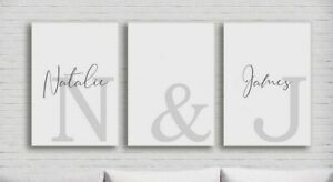 Set Of Three 3 Personalised Name & Initial Prints   Couples Bedroom Wall Art