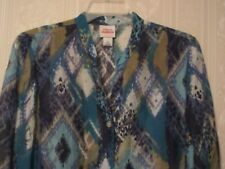RUBY RD  Size 18  3/4 Sleeve w/ Roll Back Tab  Multi-Color Semi- Sheer Shirt/Top