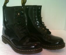 WOMENS DOC MARTENS 1460-W 8 Eyelet Black Patent Leather Boots Size US 11 (Used)