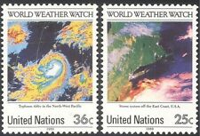 UN (NY) 1989 Weather Watch/Satellite Images/Maps/Space/IMO/WMO 2v set (n19331)
