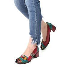 Women Bohemian Vintage Wingtip Heels Pumps Floral Leather Splicing Block Shoes