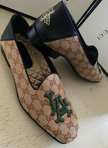 NIB $980 Gucci Men GG Monogram Loafers Shoes Beige 10 US / 9 UK Italy