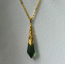 BEAUTIFUL GREEN GLASS ART DECO STYLE PENDANT GOLD PLATED FILIGREE DL