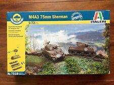 ITALERI 1/72 WW II AMERICAN M4A3 75MM. SHERMANS SNAP MODEL KITS ITEM # 7518 F/S