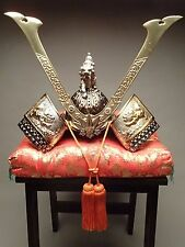SAMURAI Warrior, Minamoto Yoshitsune, Iron KABUTO/Decoration Helmet w/Cushion