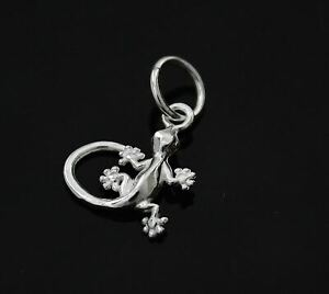 925 STERLING SILVER GECKO LIZARD CHARM PENDANT FOR BRACELET OR NECKLACE A16P